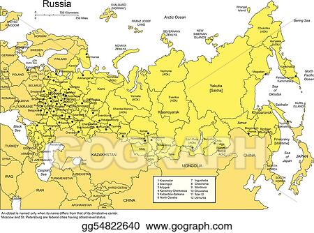 Vector Stock - Russia with administrative districts and ...