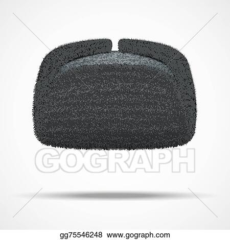 224e0aa5e67 Vector Illustration - Russian black winter fur hat ushanka. Stock ...