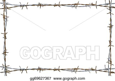 Stock Illustration - Rusty barbed wire . Clip Art gg69627367 - GoGraph