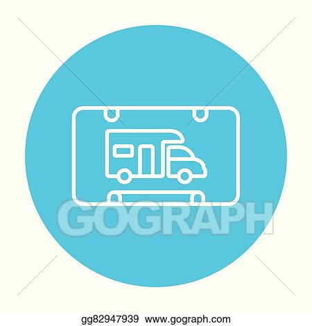 RV Camping Sign Line Icon