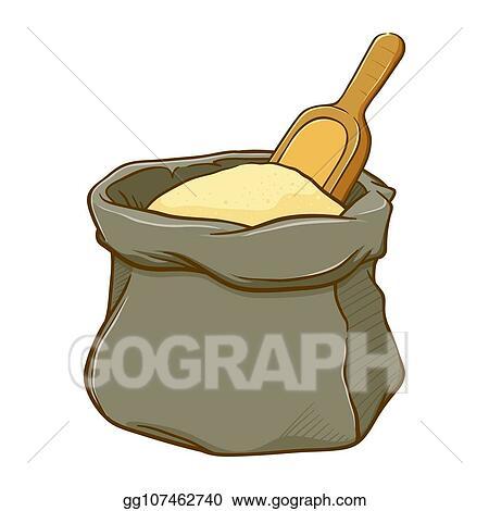 vector art sack of flour with wooden spoon clipart drawing gg107462740 gograph vector art sack of flour with wooden