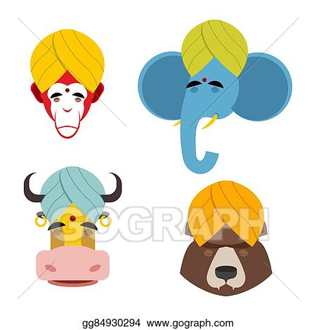 Vector Art - Sacred animals in turban  sacred indian