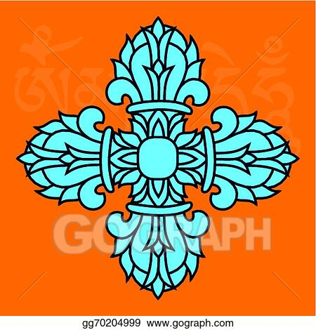 Vector Illustration Sacred Buddhist Religious Symbol Vajra Or