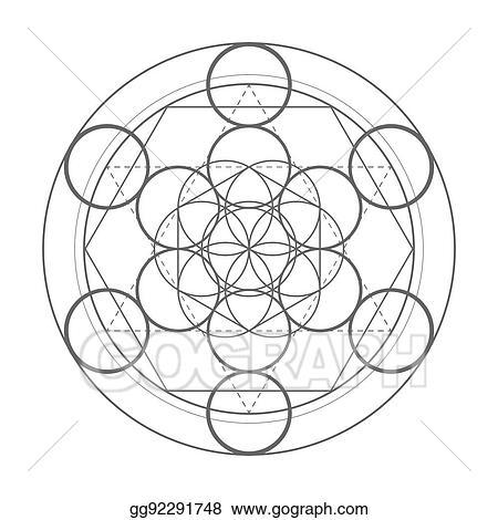 Vector Stock - Sacred geometry symbol  metatrons cube vector