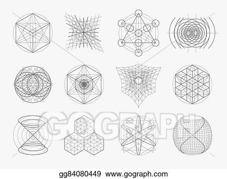 vector illustration sacred geometry symbols and elements set eps
