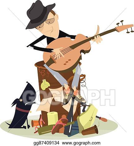 vector illustration sad blues or jazz man plays guitar eps