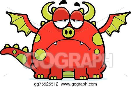 Dragon sad. Vector art cartoon clipart
