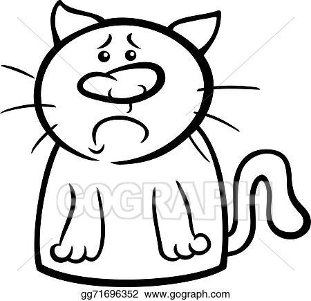 Vector Art Sad Cat Cartoon Coloring Page Clipart Drawing Gg71696352 Gograph