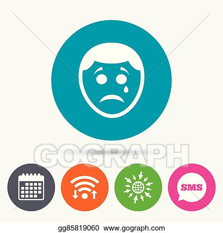 Vector Clipart Sad Face With Tear Sign Icon Crying Symbol Vector