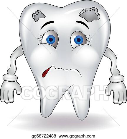 Vector Clipart Sad Tooth Vector Illustration Gg68722488 Gograph