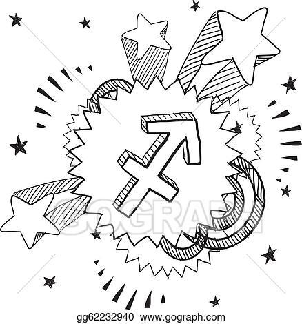 Vector Illustration Sagittarius Zodiac Pop Vector Eps Clipart