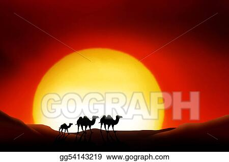 stock illustration sahara desert clip art gg54143219 gograph rh gograph com Cartoon Sunrise Clip Art Sunrise Over Water Clip Art