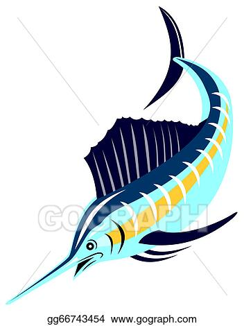 drawing sailfish fish jumping retro clipart drawing gg66743454 rh gograph com  sailfish clipart