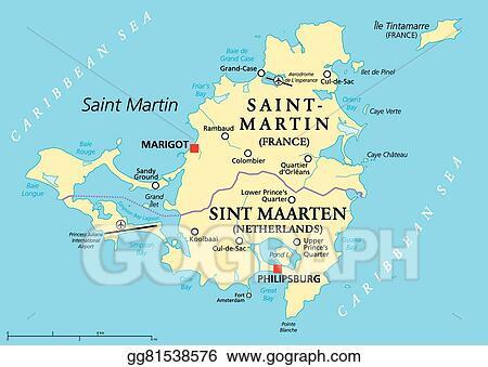 Vector Illustration - Saint martin island political map. EPS Clipart ...