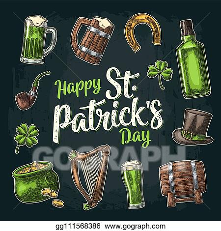 EPS Vector - Saint patrick day  hat, pot coins, pipe, beer, lyre