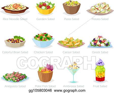 Eps Illustration Salad Vector Healthy Food With Fresh