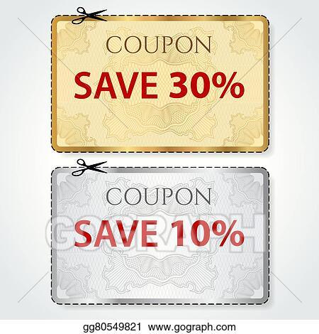 Vector Art - Sale coupon, voucher, tag, gold ticket. EPS clipart ...