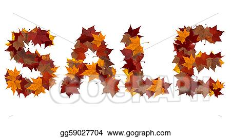 stock illustration sale fall word isolated clipart drawing