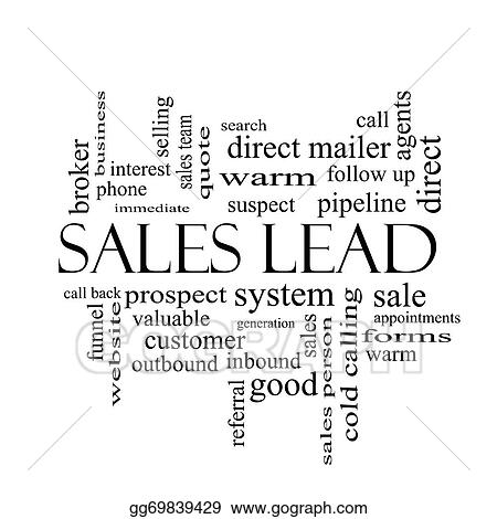 Sales Lead Word Cloud Concept In Black And White