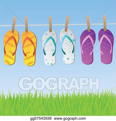 c3fc234c97600c Vector Illustration - Sandals on clothesline. Stock Clip Art ...