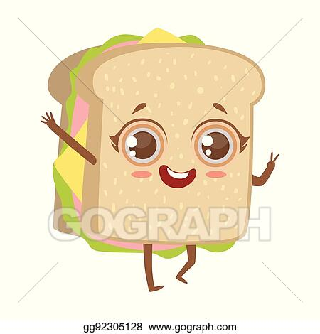 clip art vector sandwich cute anime humanized cartoon food character emoji vector illustration stock eps gg92305128 gograph sandwich cute anime humanized cartoon