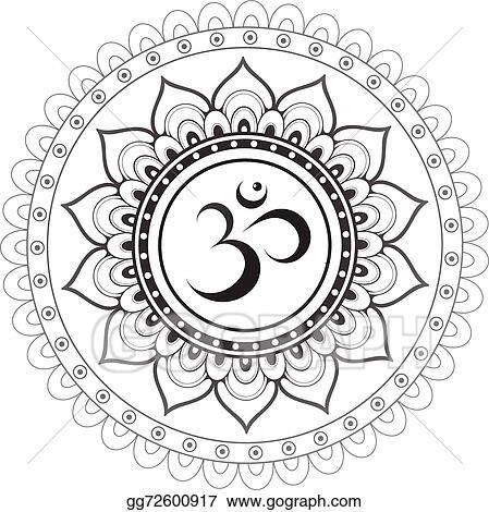 Clip Art Vector Sanskrit Sacred Symbol Om With Ethn Stock Eps