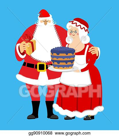 Santa And Mrs Claus Isolated Christmas Family Woman In Red Dress And White Apron Cheerful Elderly New Year Menage