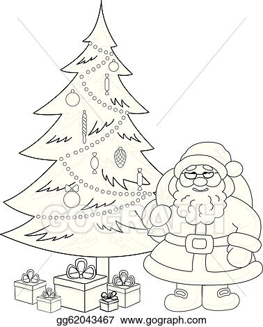 Vector Illustration Santa Claus And Christmas Tree Contours Eps