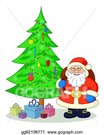 drawings santa claus and christmas tree stock illustration gg62198771 gograph https www gograph com clipart license summary gg62198771
