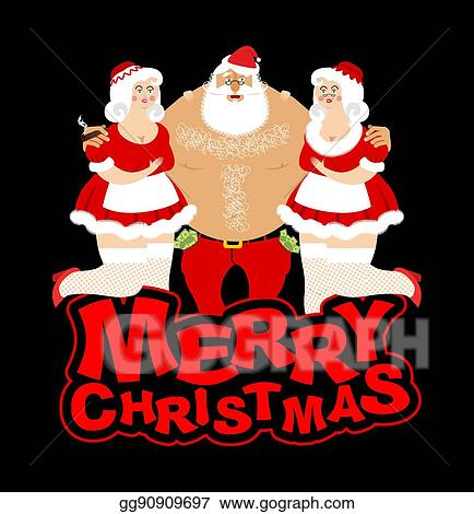 Clip Art Vector Santa Claus And Prostitutes Drunk Grandfather