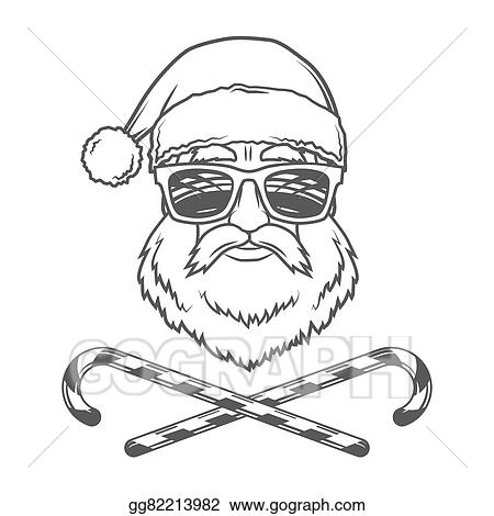 santa claus biker with candy cones and hipster glasses print design vintage disco man christmas logo badge rock and roll new year t shirt illustration