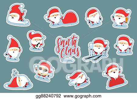 Vector Clipart Santa Claus Characters Of Christmas Quirky Cartoon Patch Cute Sticker Flat Vector Illustration Gg88240792 Gograph