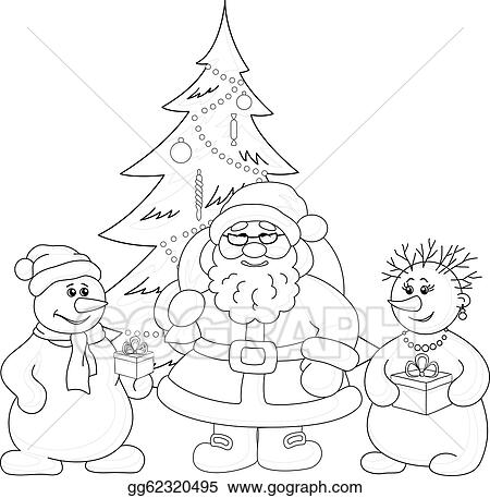 Santa Claus Christmas Tree And Snowmans Outline
