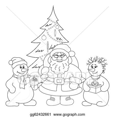 Clipart Santa Claus Christmas Tree And Snowmans Outline Stock