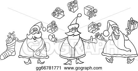 santa claus group coloring page