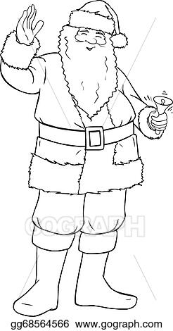 santa claus holding bell and waving for christmas coloring page