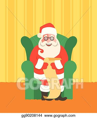 Vector Art Santa Claus In Chairreads Naughty Or Nice List Clipart Drawing Gg90208144 Gograph
