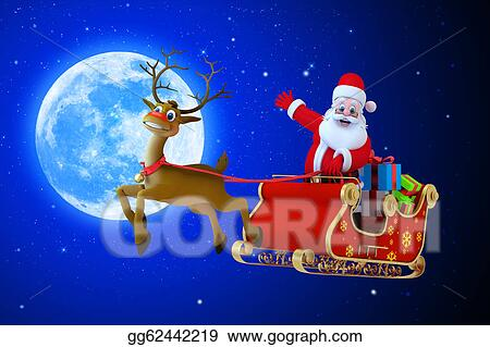 Drawing Santa Claus In His Sleigh With Moon Clipart Drawing Gg62442219 Gograph
