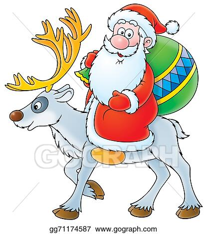 Drawing Santa Claus On A Reindeer Clipart Drawing