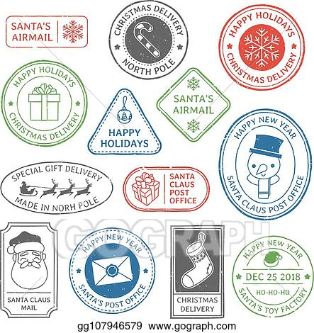 Post Stamp Christmas Mail Letter Stamps North Pole Postmark And Postage Mark Xmas Holiday Card Label Vector Set