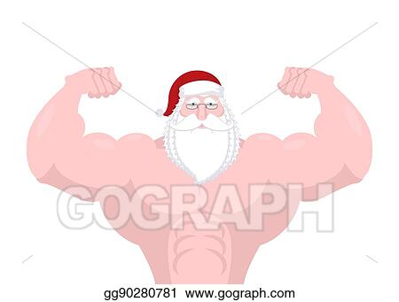 f8b7bf6ca921a Santa Claus strong. Powerful old man with big muscles. Fitness Christmas.  Sport New Year. Bodybuilder grandfather