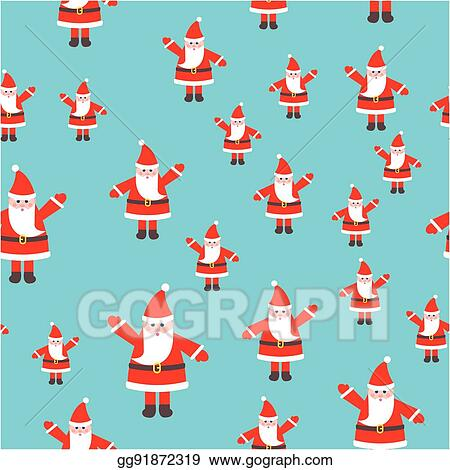 Santa Claus Toy With Raised Hand Seamless Pattern