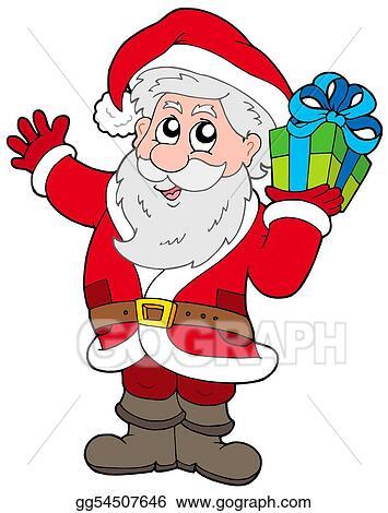 Christmas Present Drawings.Drawings Santa Claus With Christmas Gift Stock