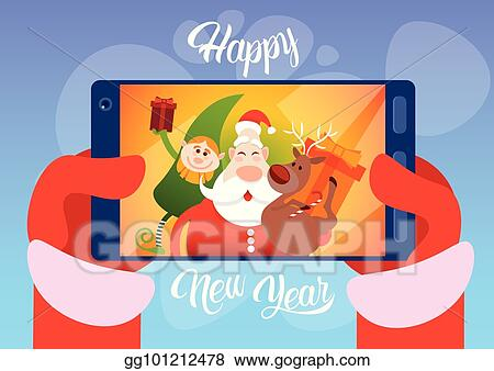 santa claus with reindeer elfs making selfie photo new year christmas holiday greeting card
