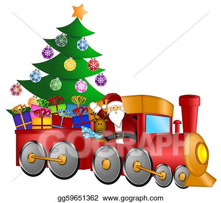 Clip art santa in train with gifts and christmas tree stock clip art santa claus and reindeer delivering gifts in red train with christmas tree illustration stock illustration gg59651362 negle Choice Image