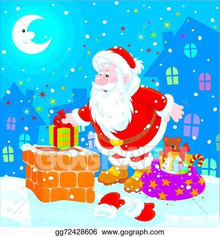 8f530d48 Vector Illustration - Santa on a housetop. EPS Clipart gg72428606 ...
