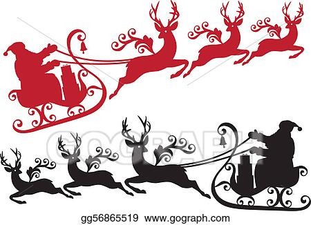 eps illustration santa with sleigh and reindeer vector clipart