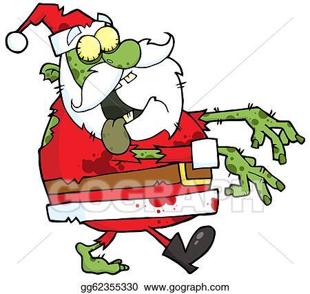 Christmas Zombie Santa.Clip Art Vector Santa Zombie Cartoon Character Stock Eps