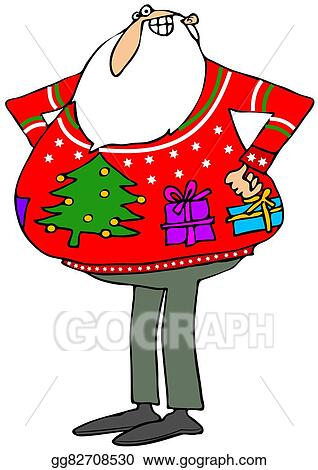 Ugly Christmas Sweater Clipart.Stock Illustration Santa A Ugly Christmas Sweater Clipart