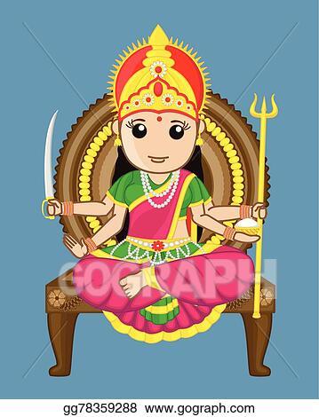 Vector Art Santoshi Mata Indian Goddess Clipart Drawing